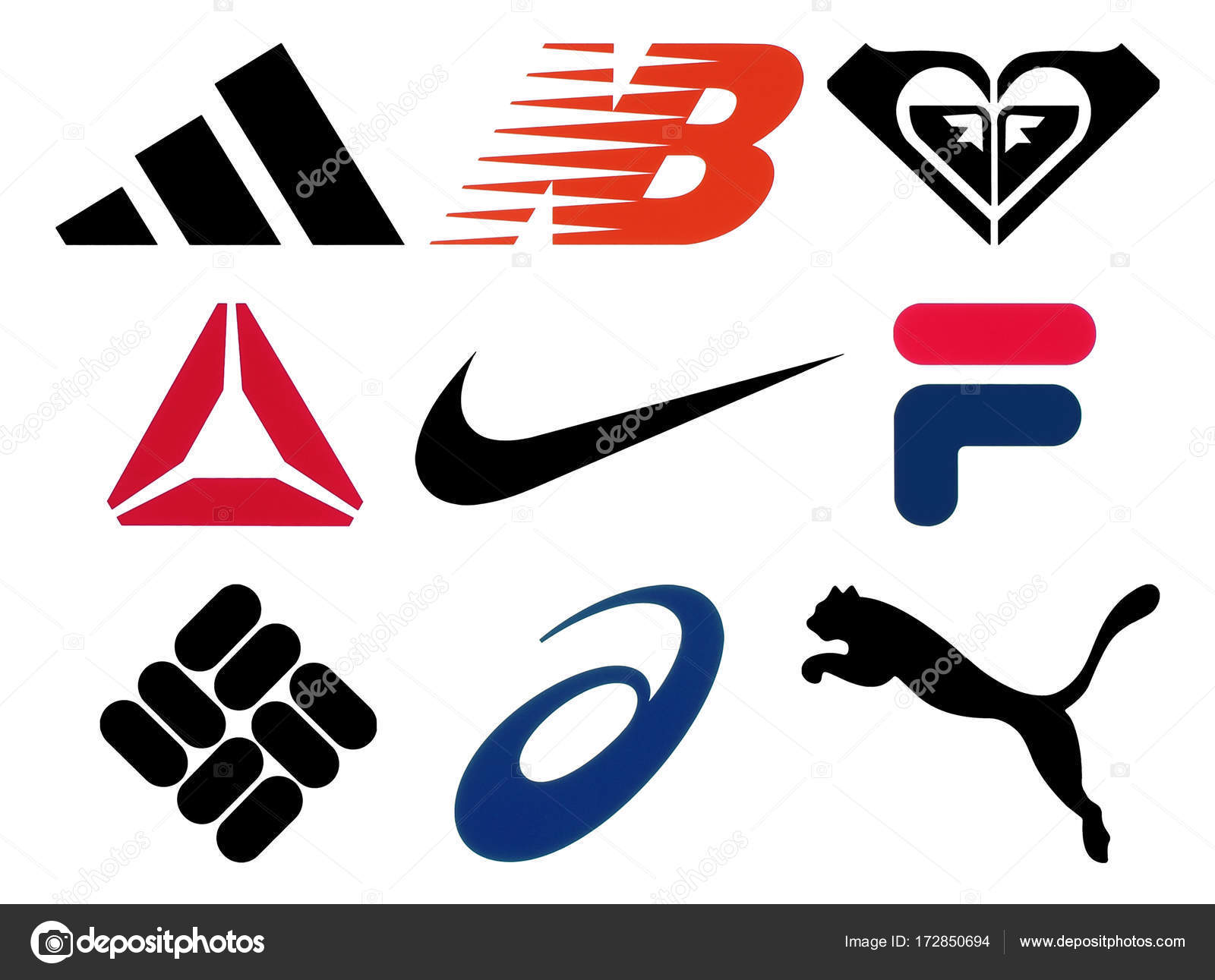 Set of popular sportswear manufactures logos stock editorial kiev ukraine october 27 2017 set of popular sportswear manufactures logos printed on paper adidas new balance roxy reebok nike fila columbia biocorpaavc Choice Image