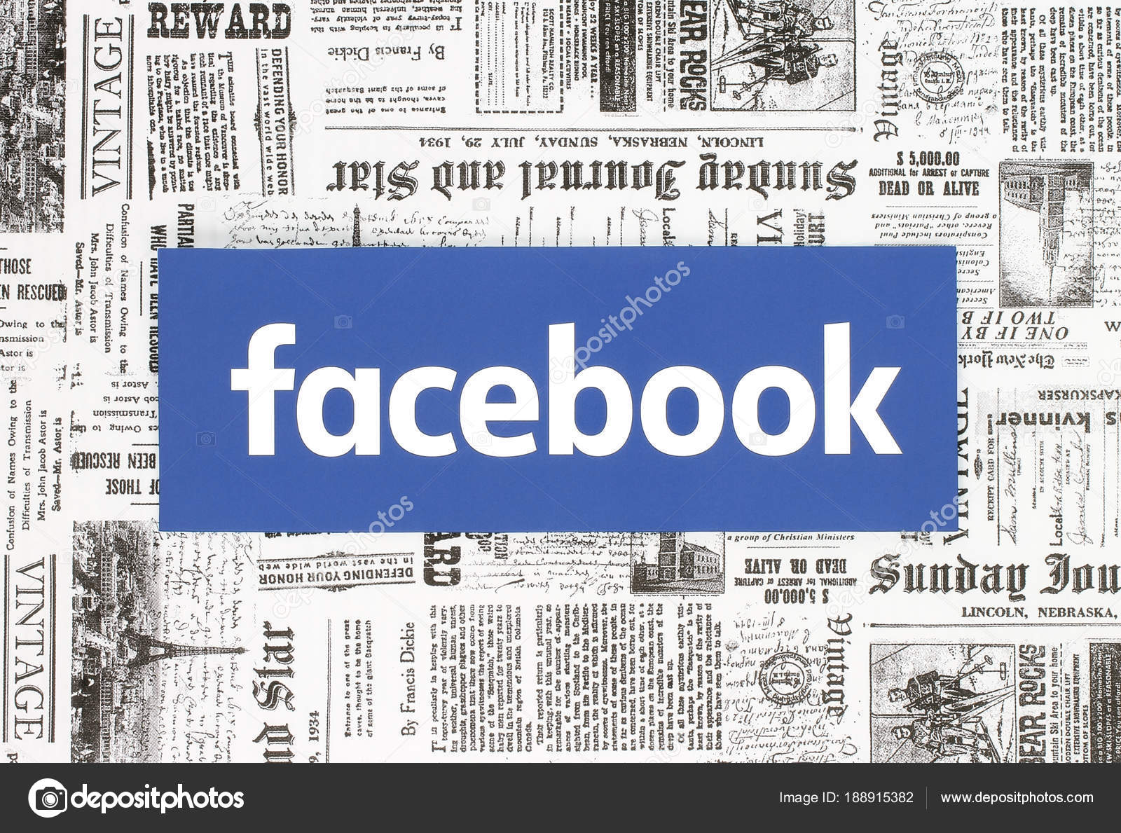 kiev ukraine february 08 2018 facebook logo printed on paper and placed on retro newspaper background photo by rozelt
