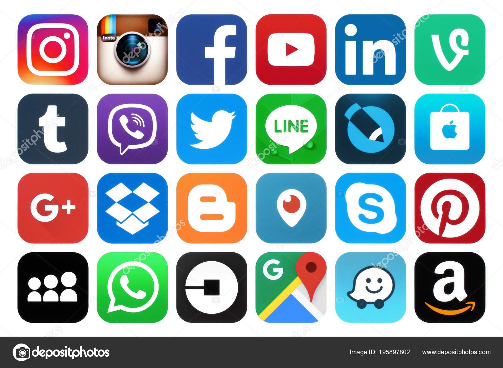 0e50c27131427 Kiev Ucrania Marzo 2018 Colección Iconos Redes Sociales Populares Impreso —  Foto de Stock