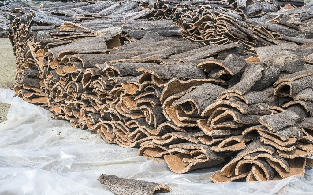 Piles of bark from cork