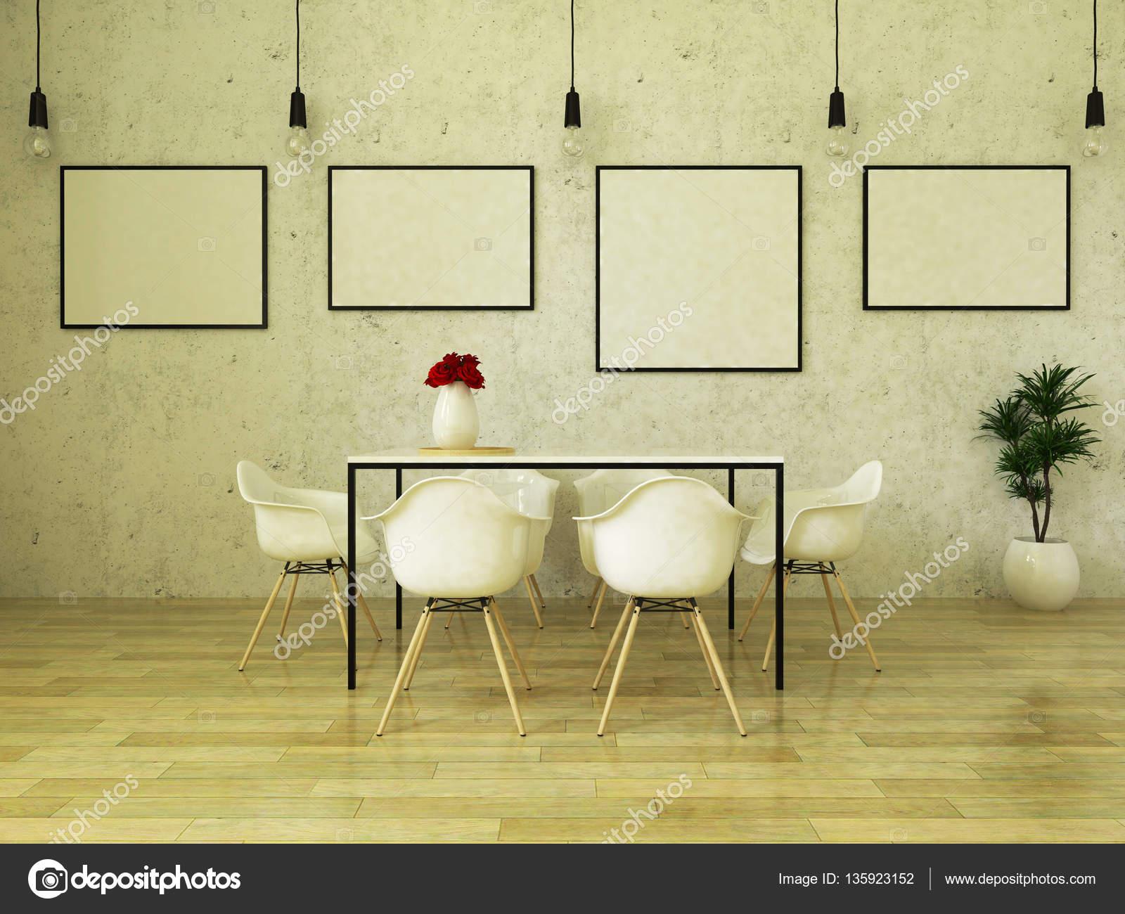 Mooie Witte Eettafel Stoelen.3d Render Van Mooi Eettafel Met Witte Stoelen Stockfoto