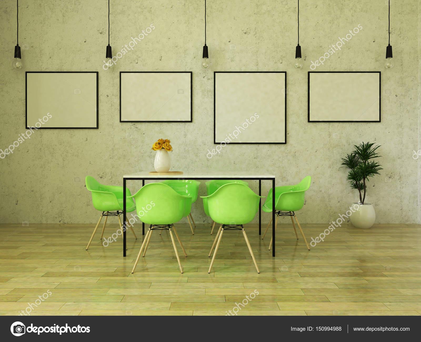 render 3D de la hermosa mesa de comedor con sillas verdes brillantes ...