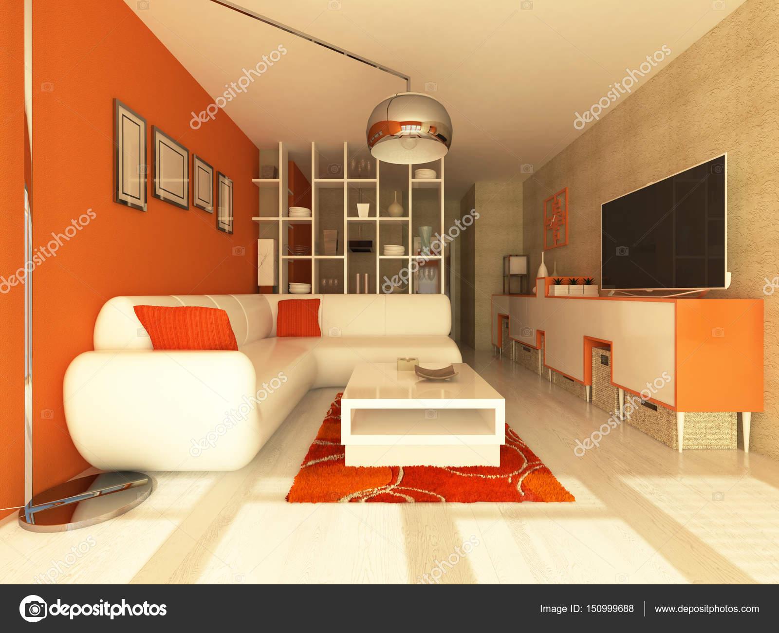 Pareti Colore Arancione : 3d render dellinterno bellissimo salone moderno con pareti arancio
