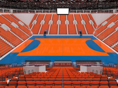 Modern sports arena for handball with orange seats and VIP boxes for ten thousand fans