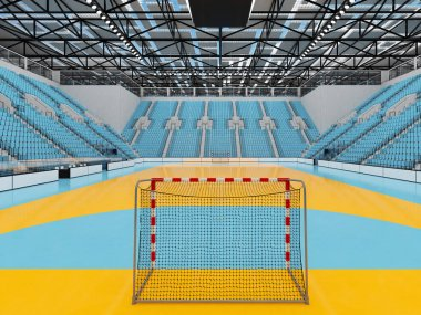 Modern sports arena for handball with sky blue seats and VIP boxes for ten thousand fans