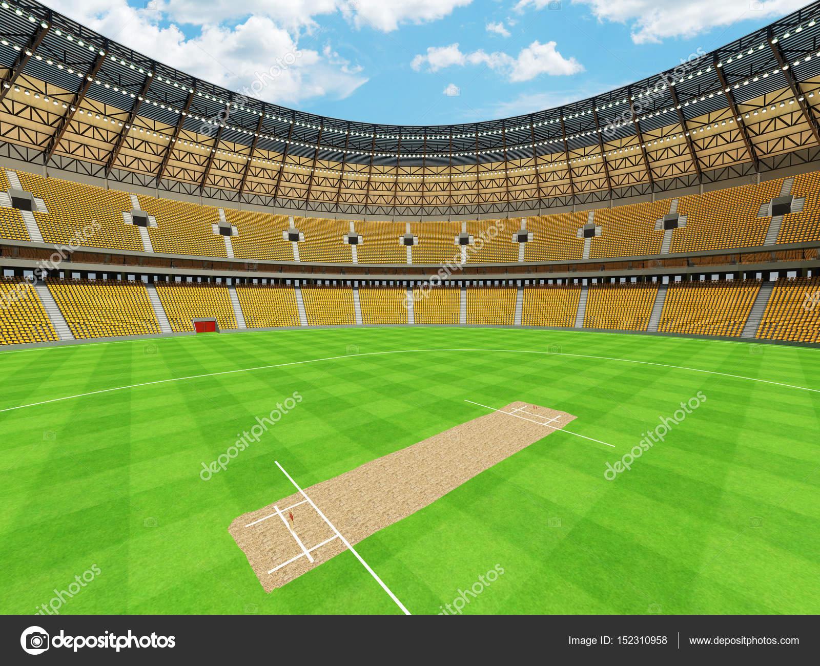 Beautiful Modern Round Cricket Stadium With Orange Seats And Vip
