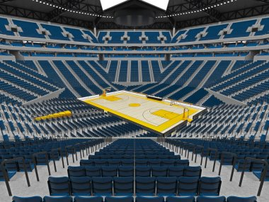 Beautiful modern sport arena for basketball with blue seats