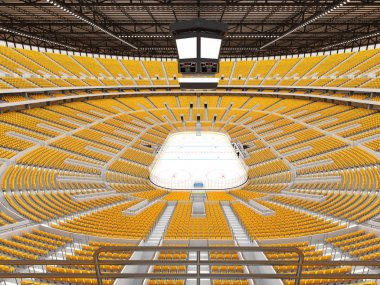 Beautiful sports arena for ice hockey with yellow seats and   VIP boxes