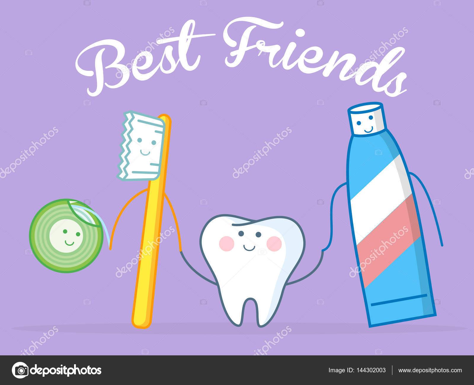 add0addc9 Conceito de higiene. Toothcare coisas. Pasta de dente fio dental  anti-séptico bucal escova o dente. Ilustração vetorial engraçado — Vetor de  ...