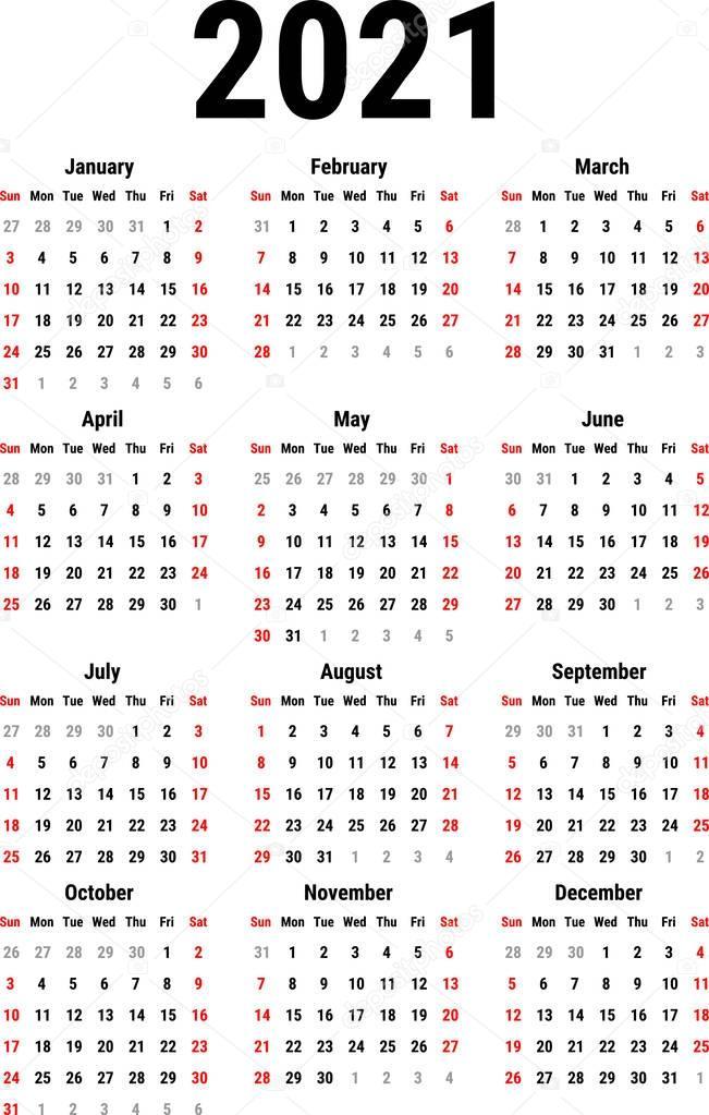 Calendar for 2021 — Stock Vector © 1507kot #160321058