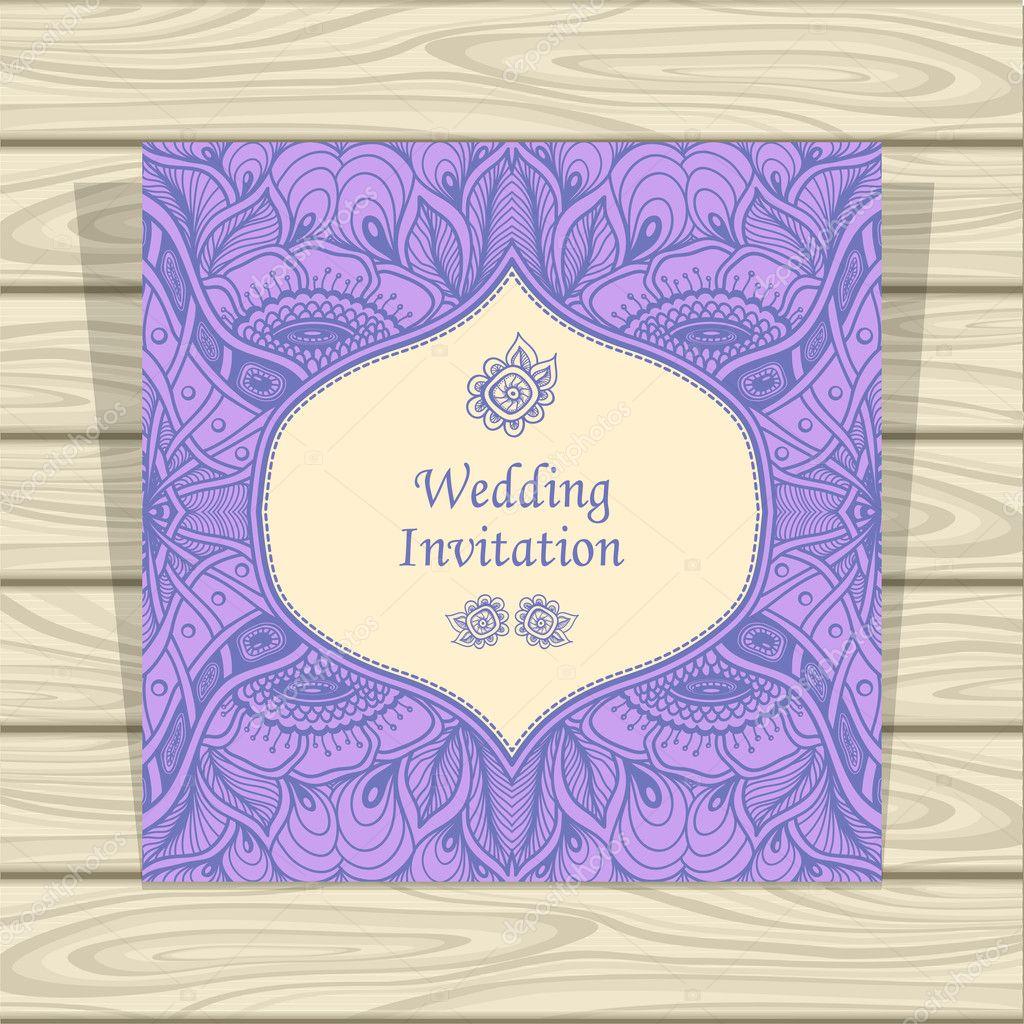Wedding invitation with zen tangle or zen doodle flowers in lilac wedding invitation with zen tangle or zen doodle flowers in lilac beige stock vector stopboris Gallery