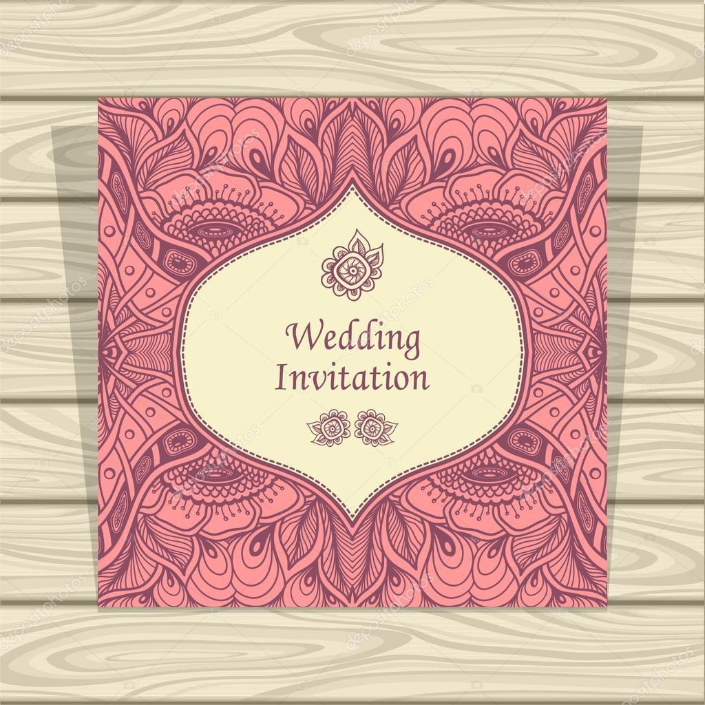 Convite de casamento com emaranhado de zen ou zen doodle flores em convite de casamento com emaranhado de zen ou zen doodle flores em rosa bege vetor stopboris Image collections