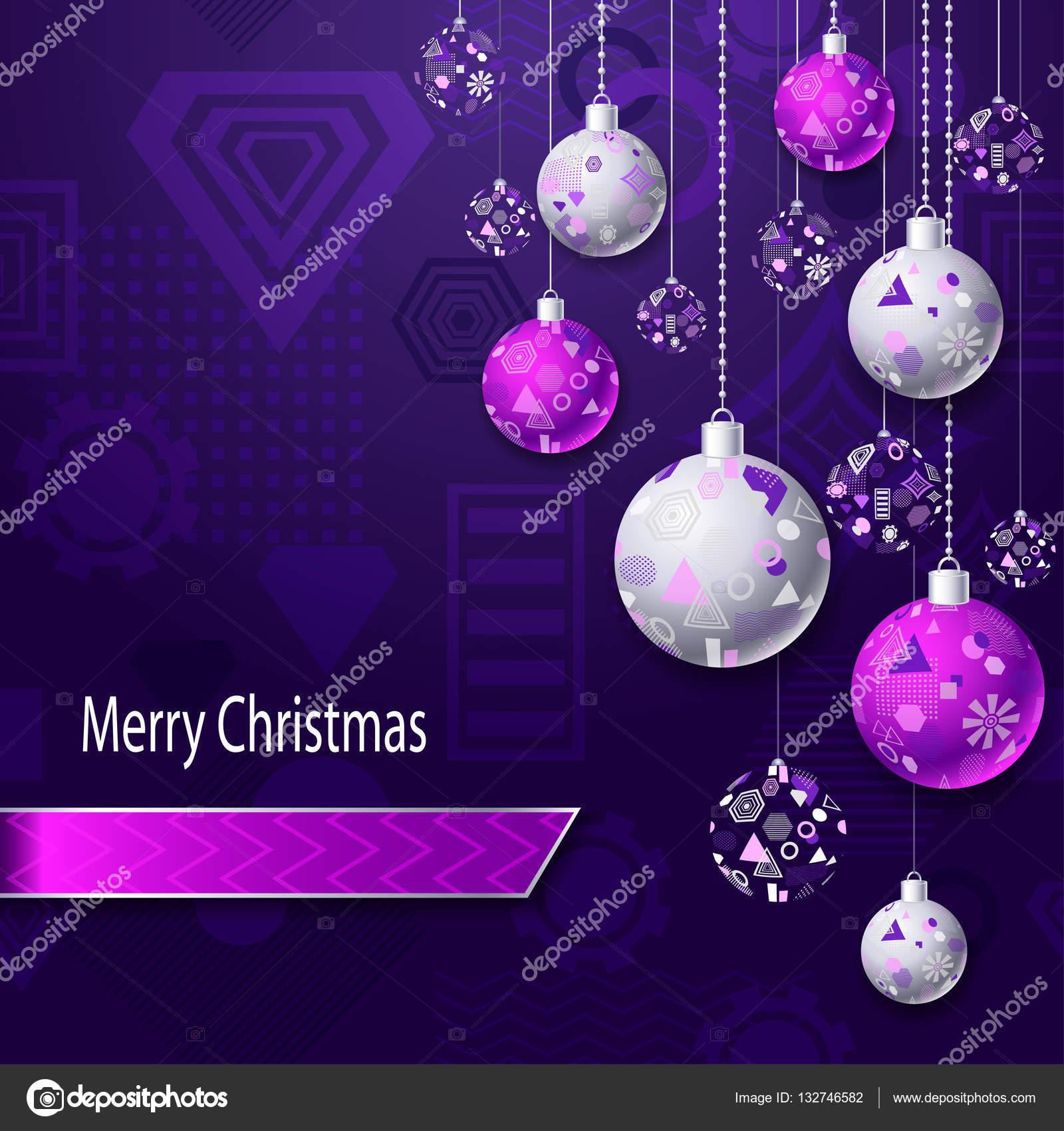 Christbaumkugeln Violett.Frohe Weihnachten Hintergrund Mit Christbaumkugeln In Rosa