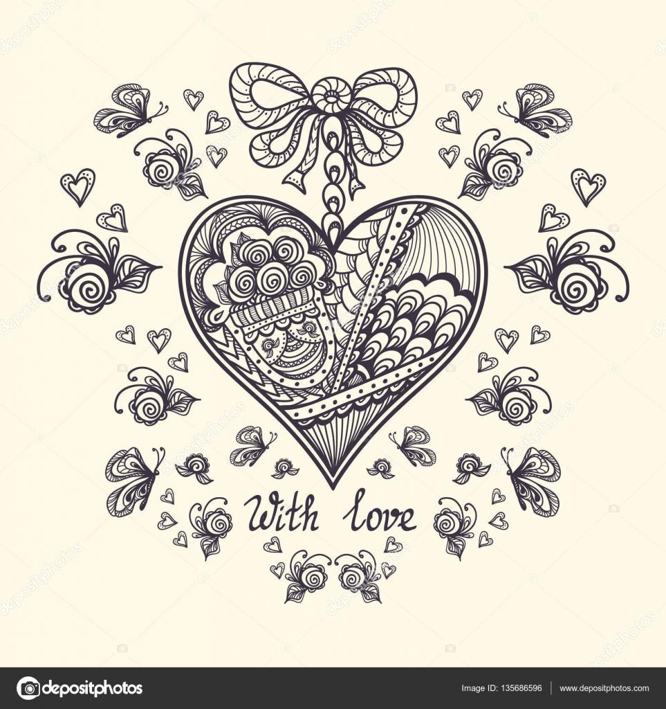 Corazón decorativo en estilo Zen-enredo para relajarse página para ...