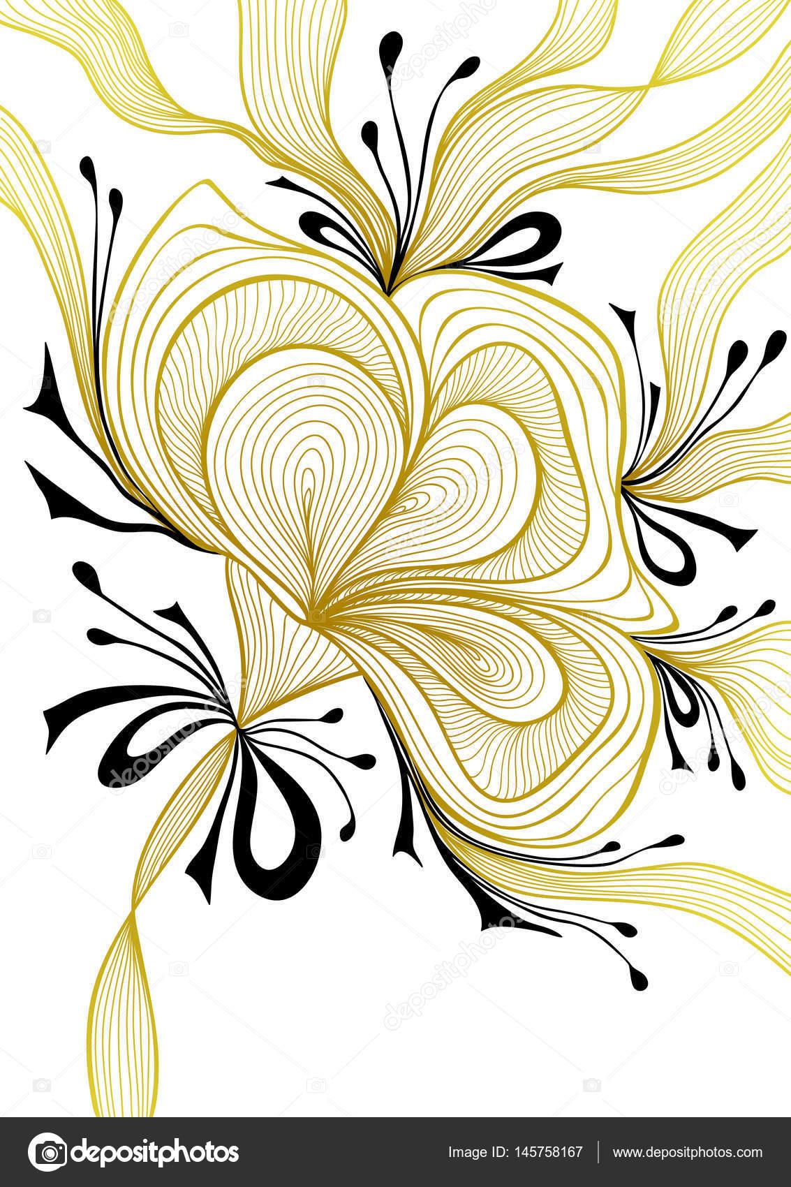 Güzel Soyut Arka Plan Dantel çiçek Yay Altın Siyah