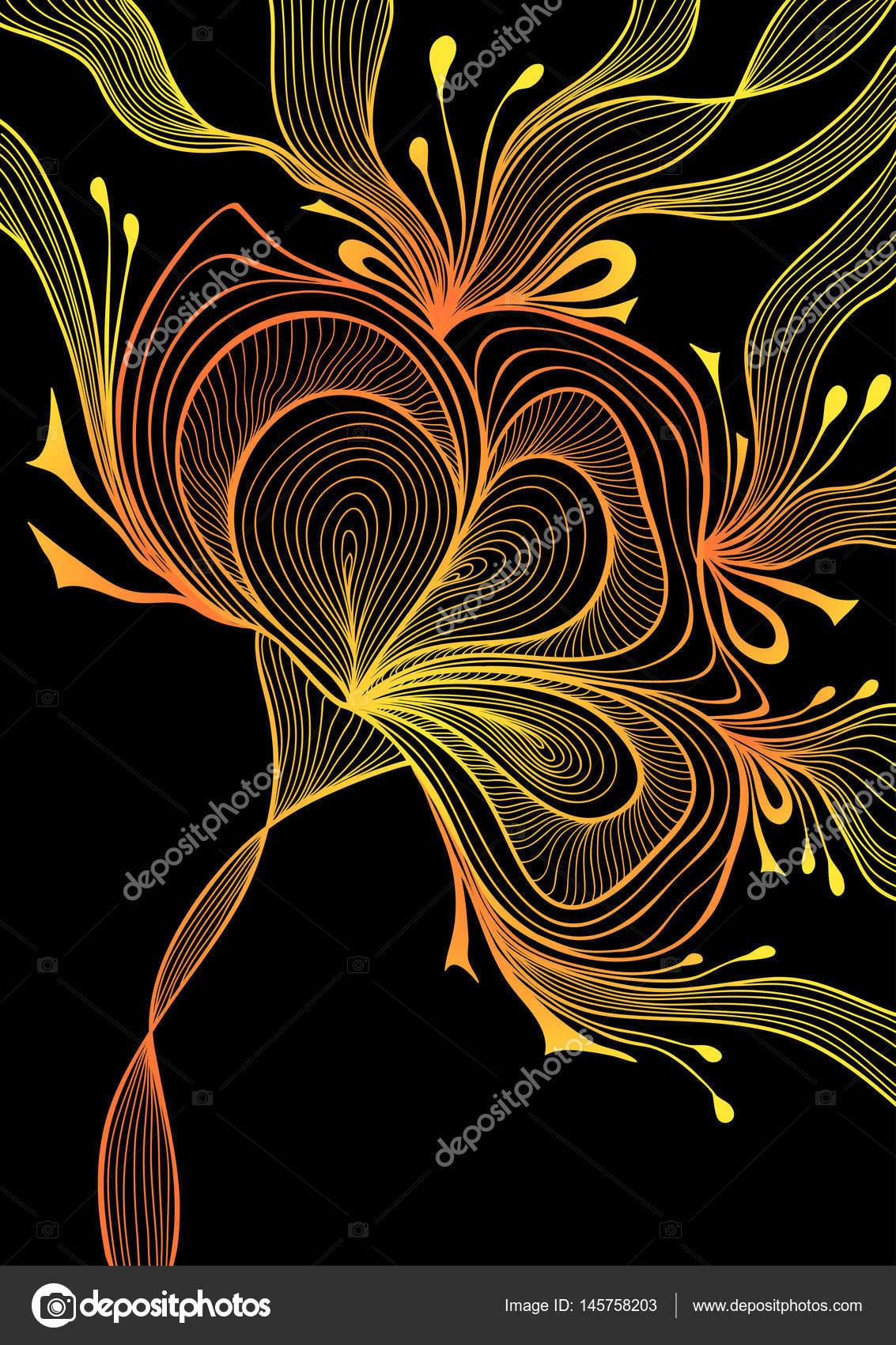 Dantel çiçek Güzel Arka Plan üzerine Siyah Altın Portakal Yay Stok