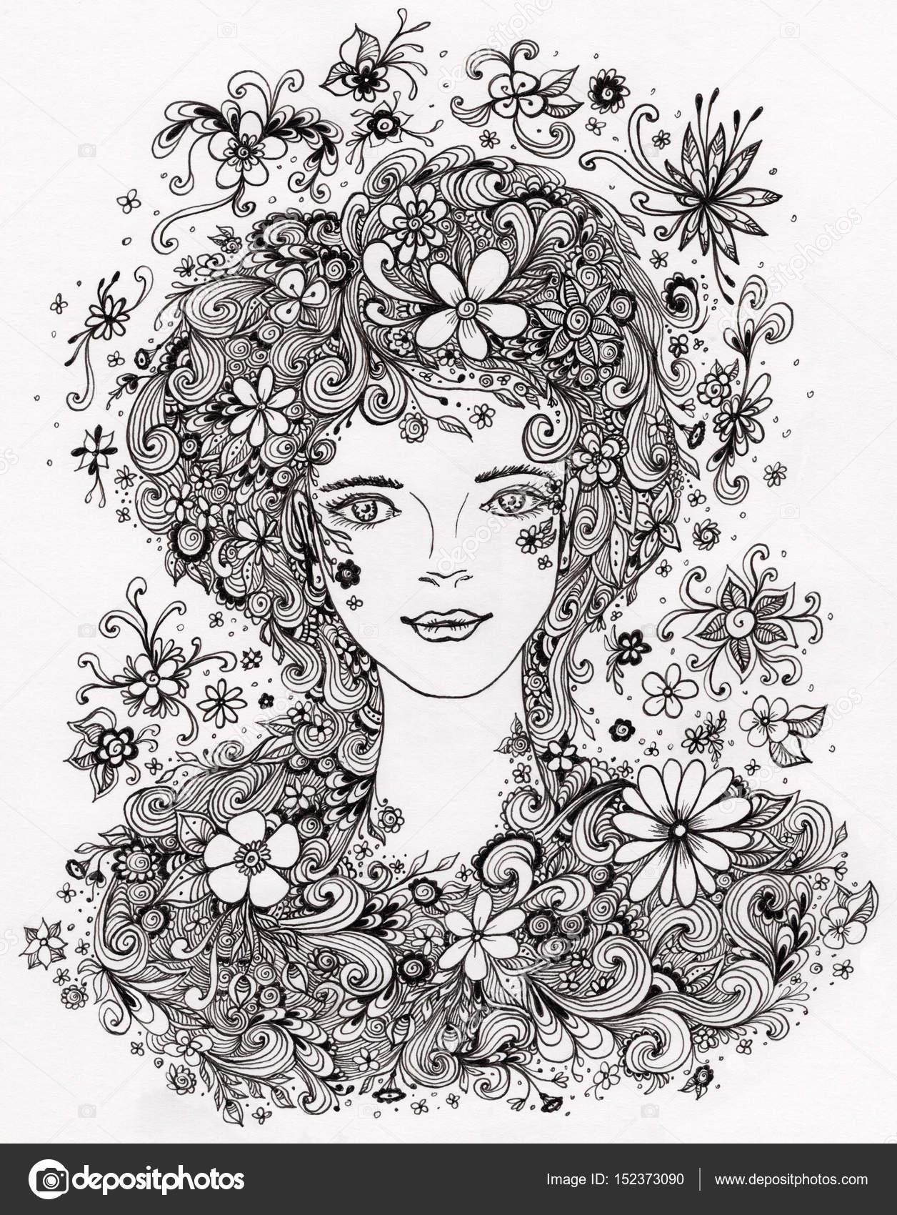 çiçekli Saç Otantik Grafiğindeki Güzel Kız Stok Foto Kulikoks