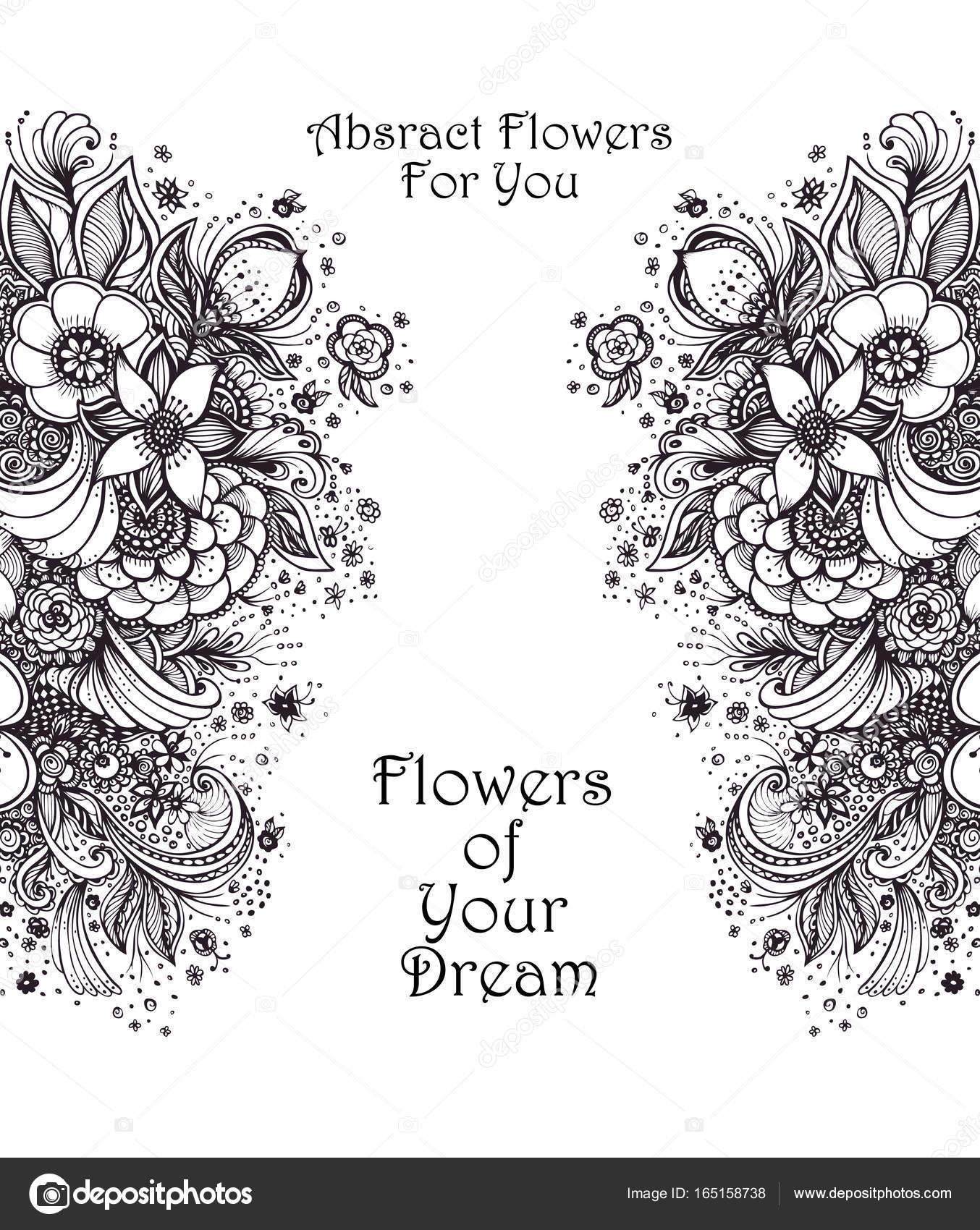 Vorlage mit schöne abstrakte Blumenstrauß schwarz auf weiß ...