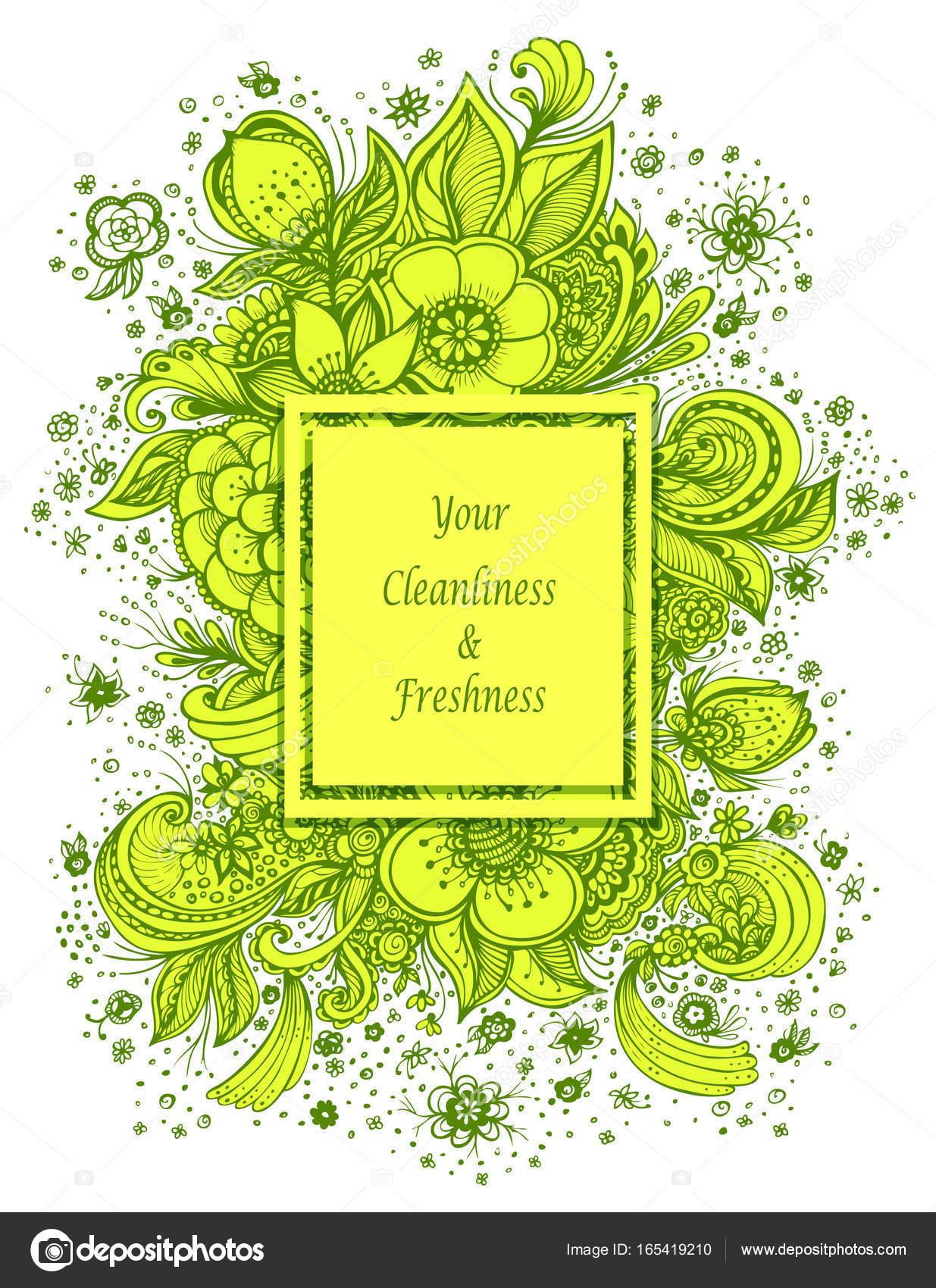 Vorlage mit schönen abstrakten Blumen Blumenstrauß in grün, gelb auf ...
