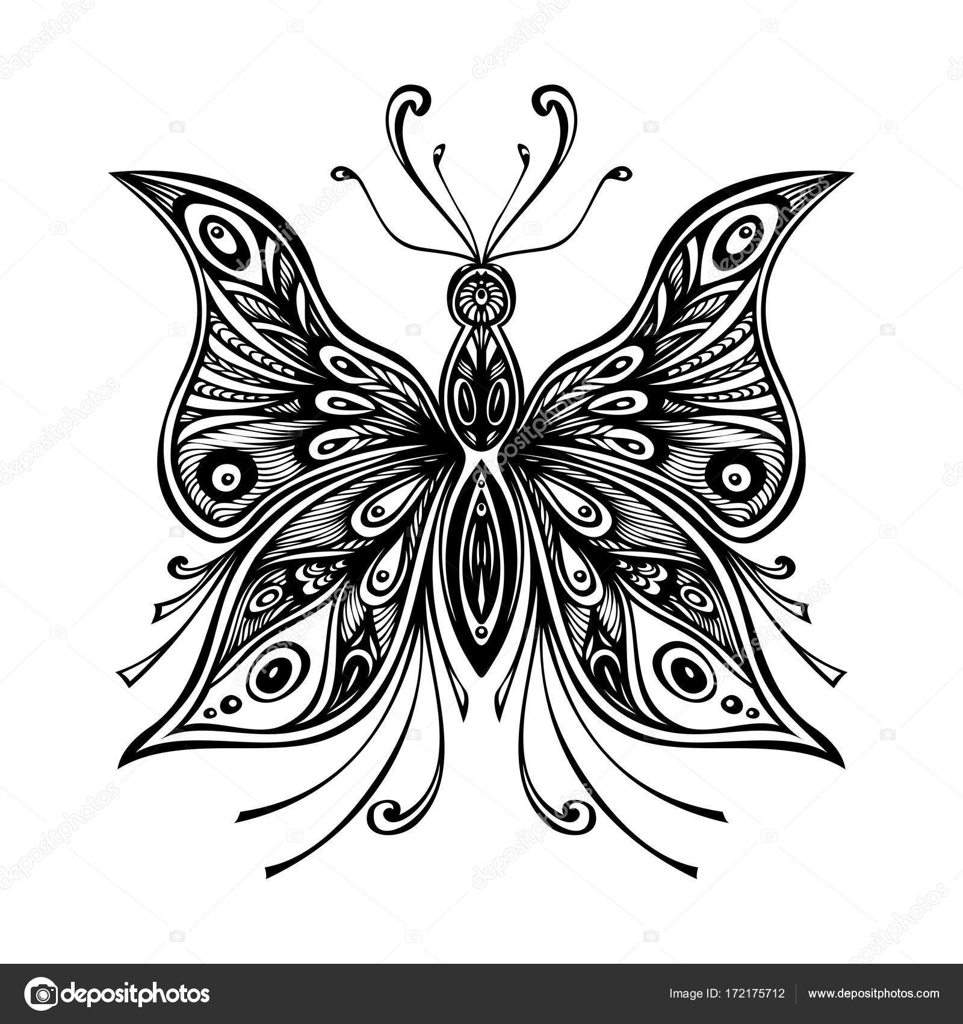 Mariposa de encaje de zentangle para tatuaje o página para colorear ...