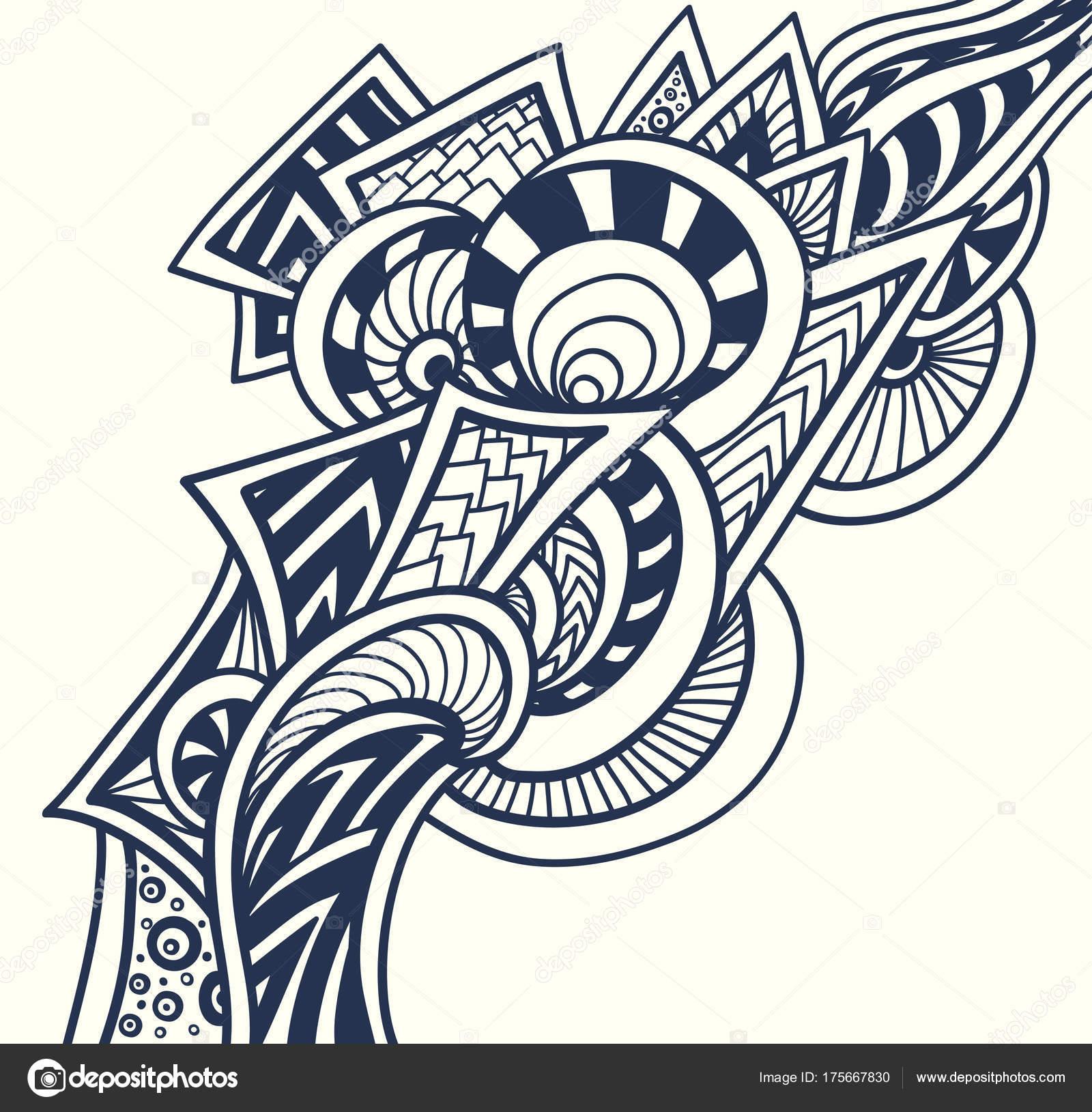 Resumen Elemento Decorativo Estilo Zentangle Zendoodle Negro Sobre ...