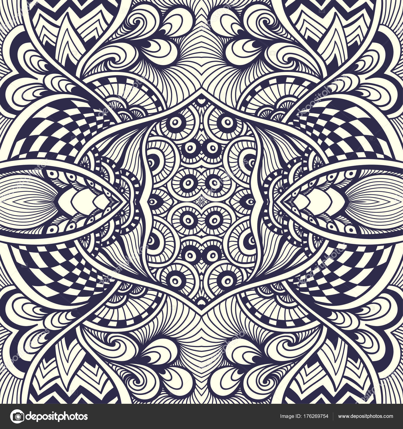 Abstract Handmade Zentangle Zendoodle Seamless Pattern Black White