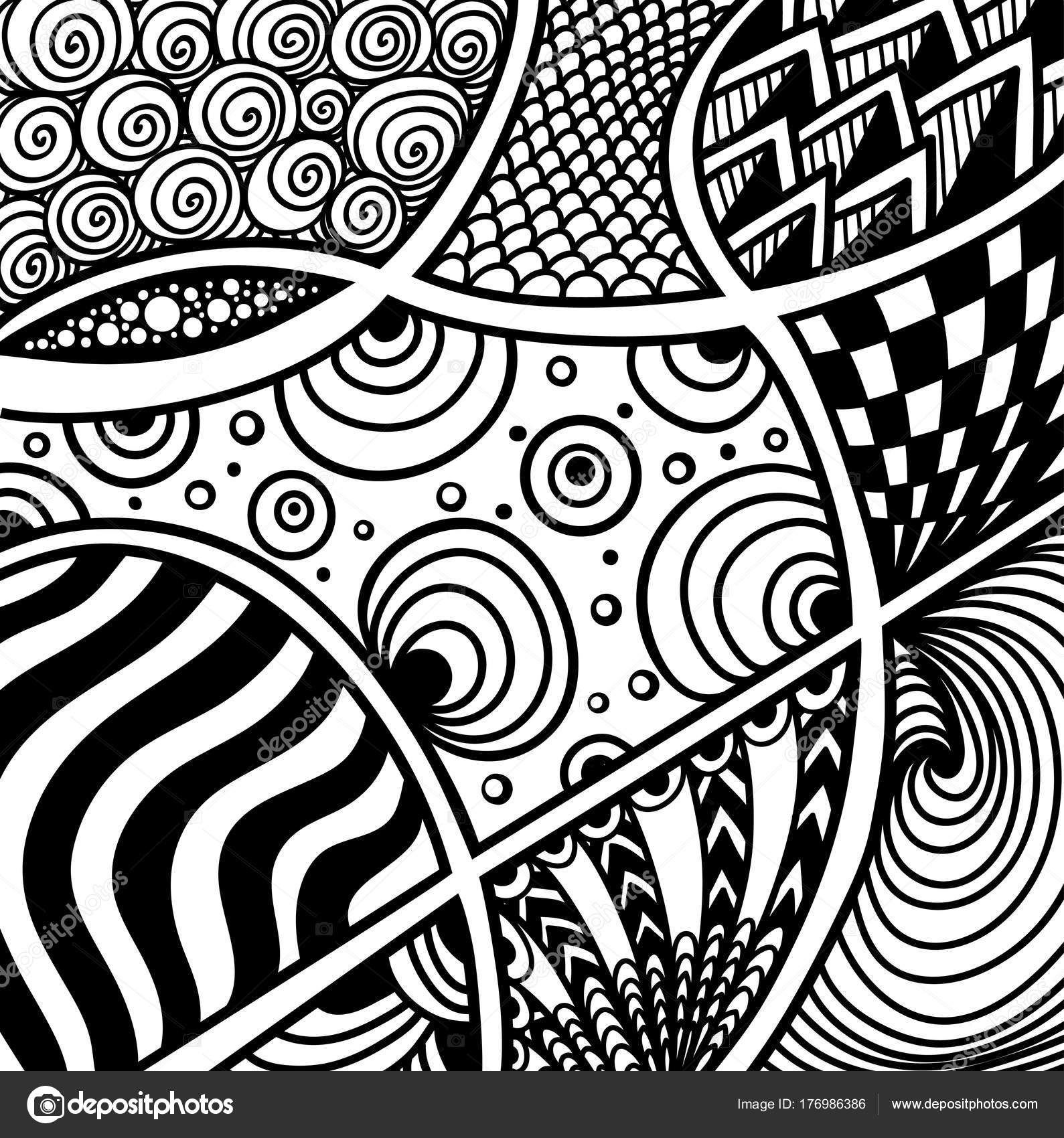 Abstrakte Handgemachte Zentangle Zendoodle Hintergrund Schwarz Auf ...