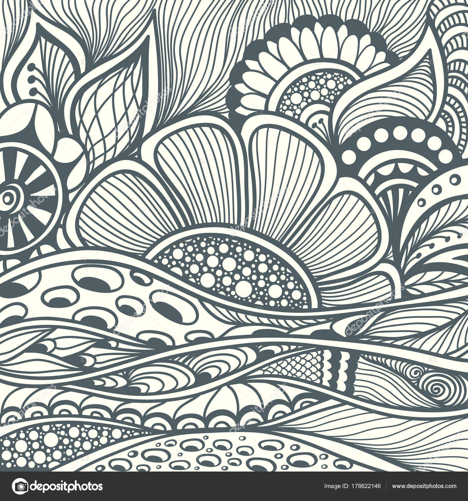 abstract floral zentangle background