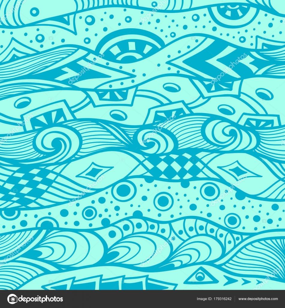 Abstract Handmade Ethno Zentangle Zendoodle Background Blue Decoration Package Wallpaper Stock Vector