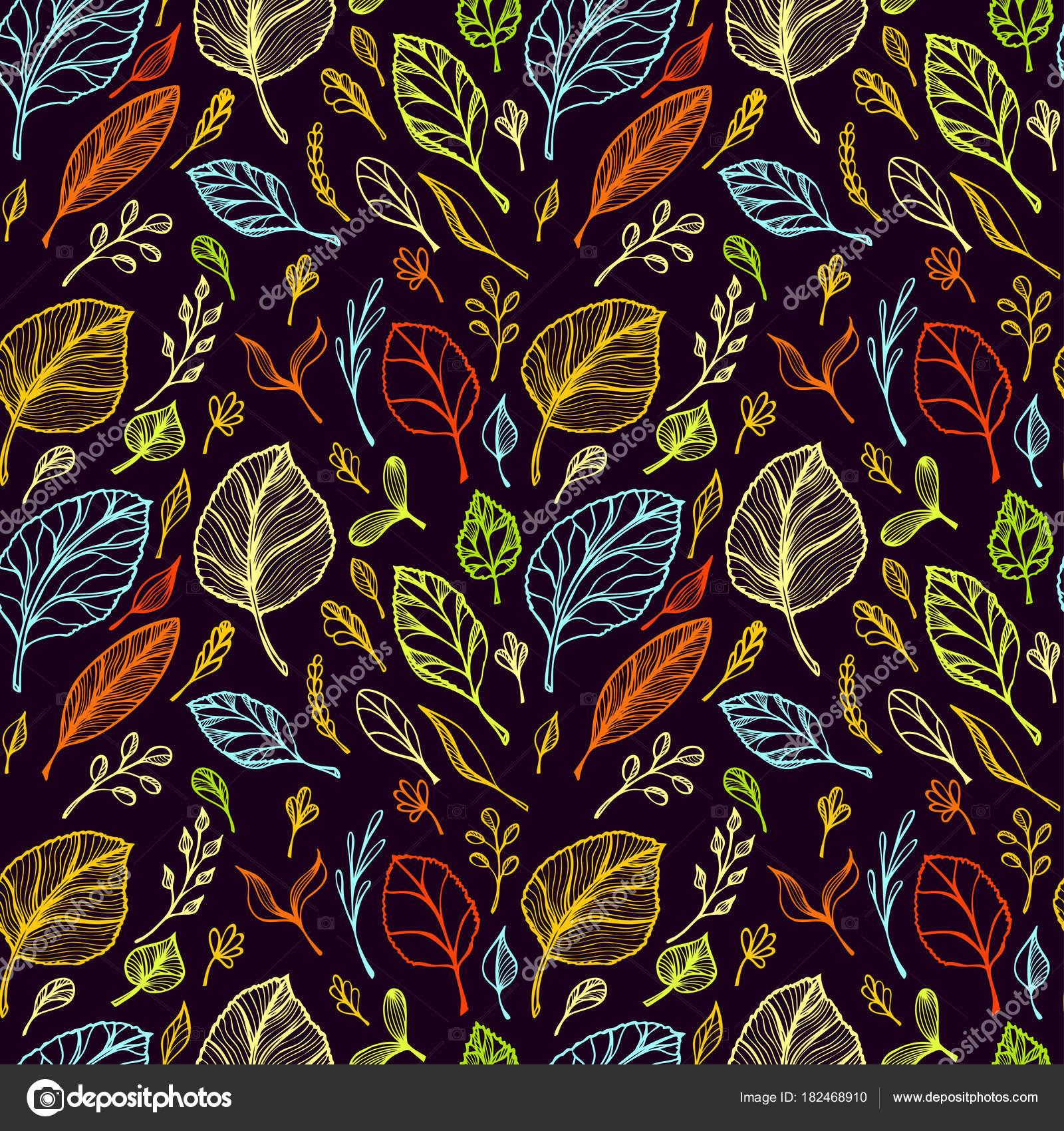 Nahtloses Muster Von Hand Zeichnen Struktur Der Blätter Bunt Auf