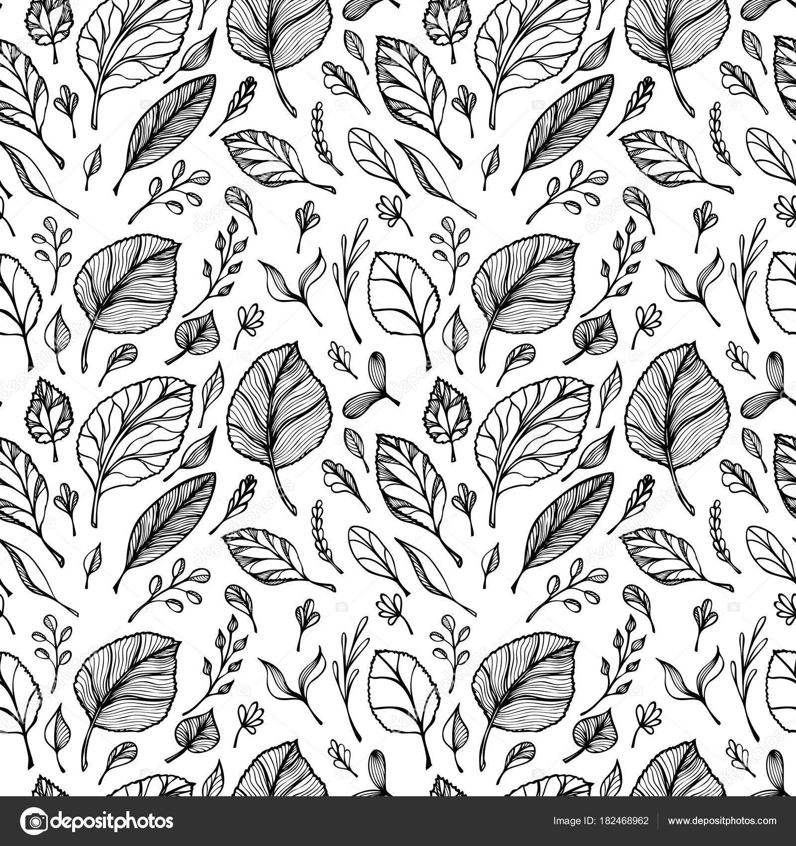 Nahtloses Muster Von Hand Zeichnen Struktur Der Blätter Schwarz Auf