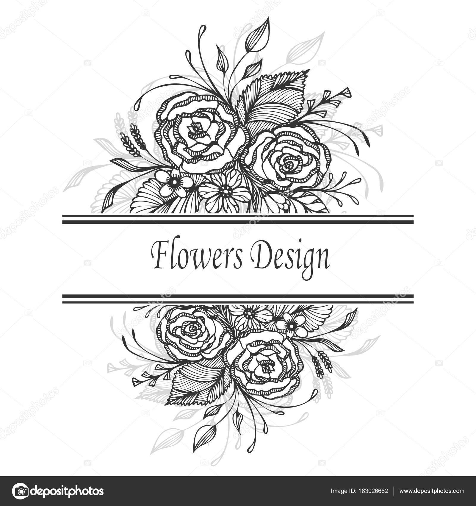 Paquete Etiqueta Plantilla Diseño Flyer Con Bouquet Flores Hechos ...