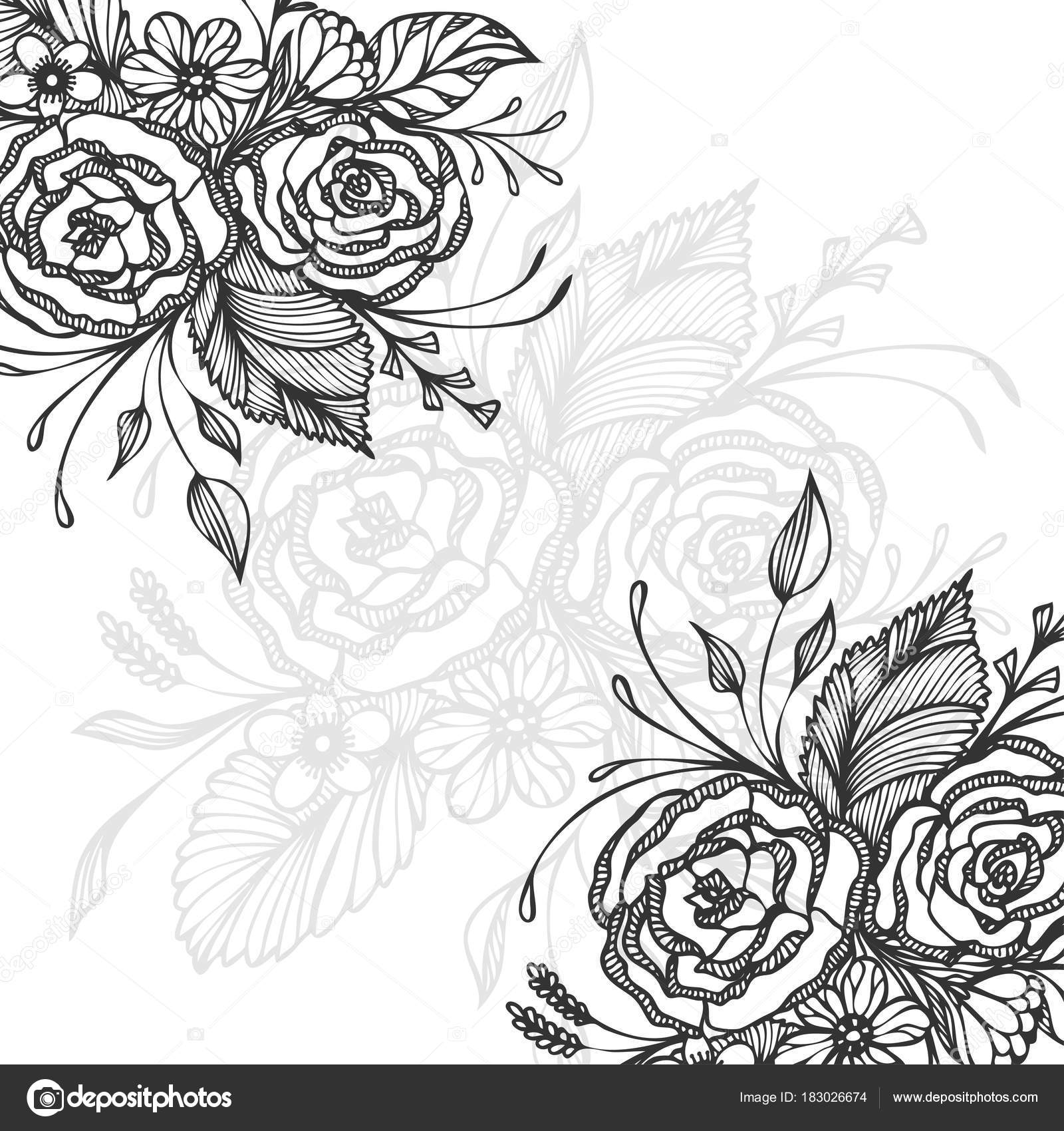 depositphotos stock illustration hand drawn background flowers bouquet