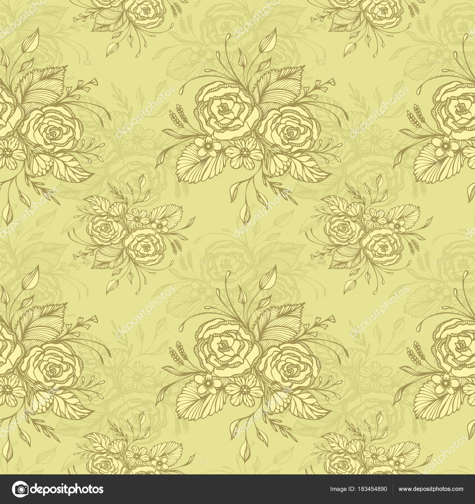 Seamless Pattern Flowers Bouquet Olive Retro Style Decoupage ...