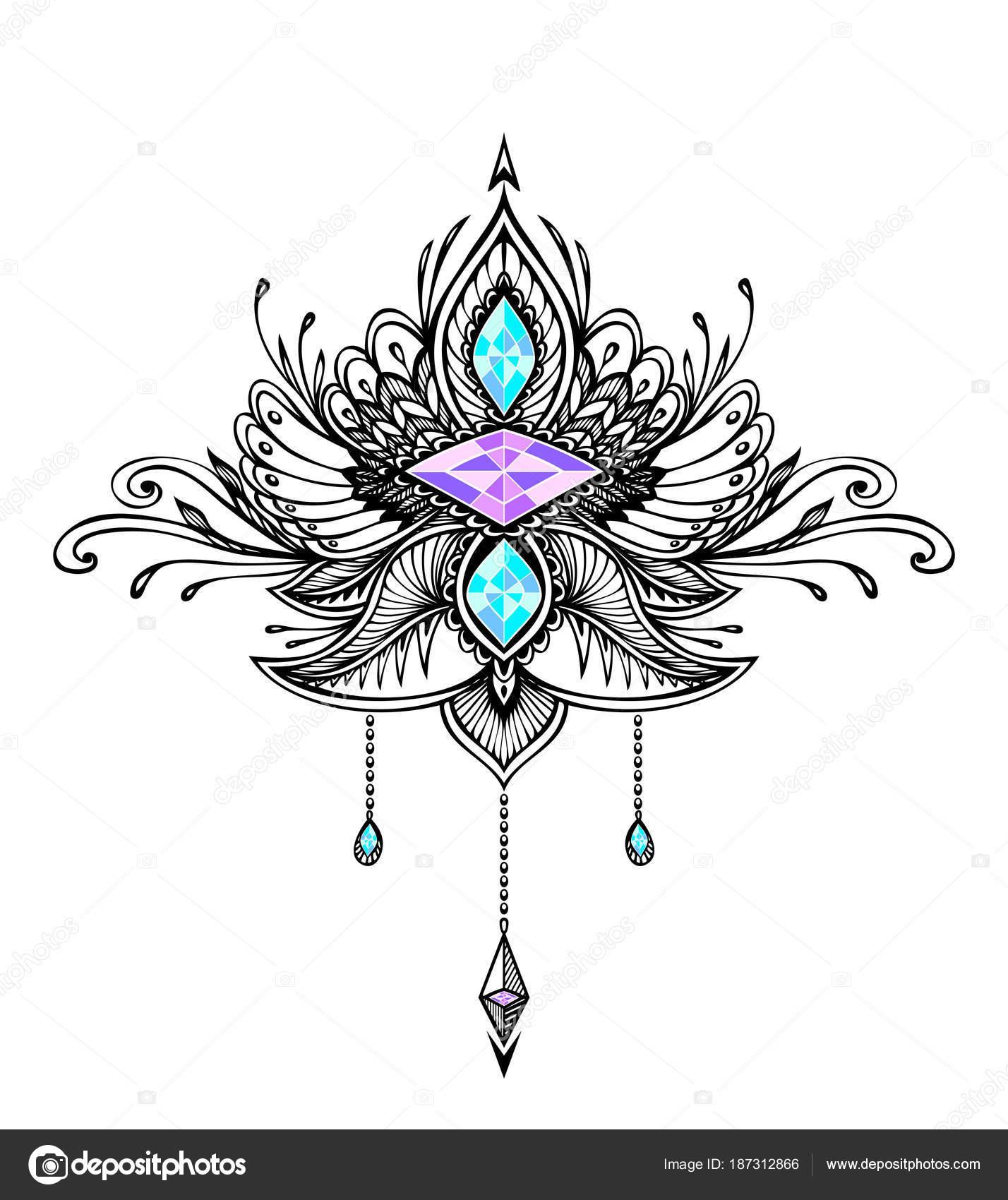 Abstract Zentangle Symbool Boho Indische Aziatische Ethno Stijl Met