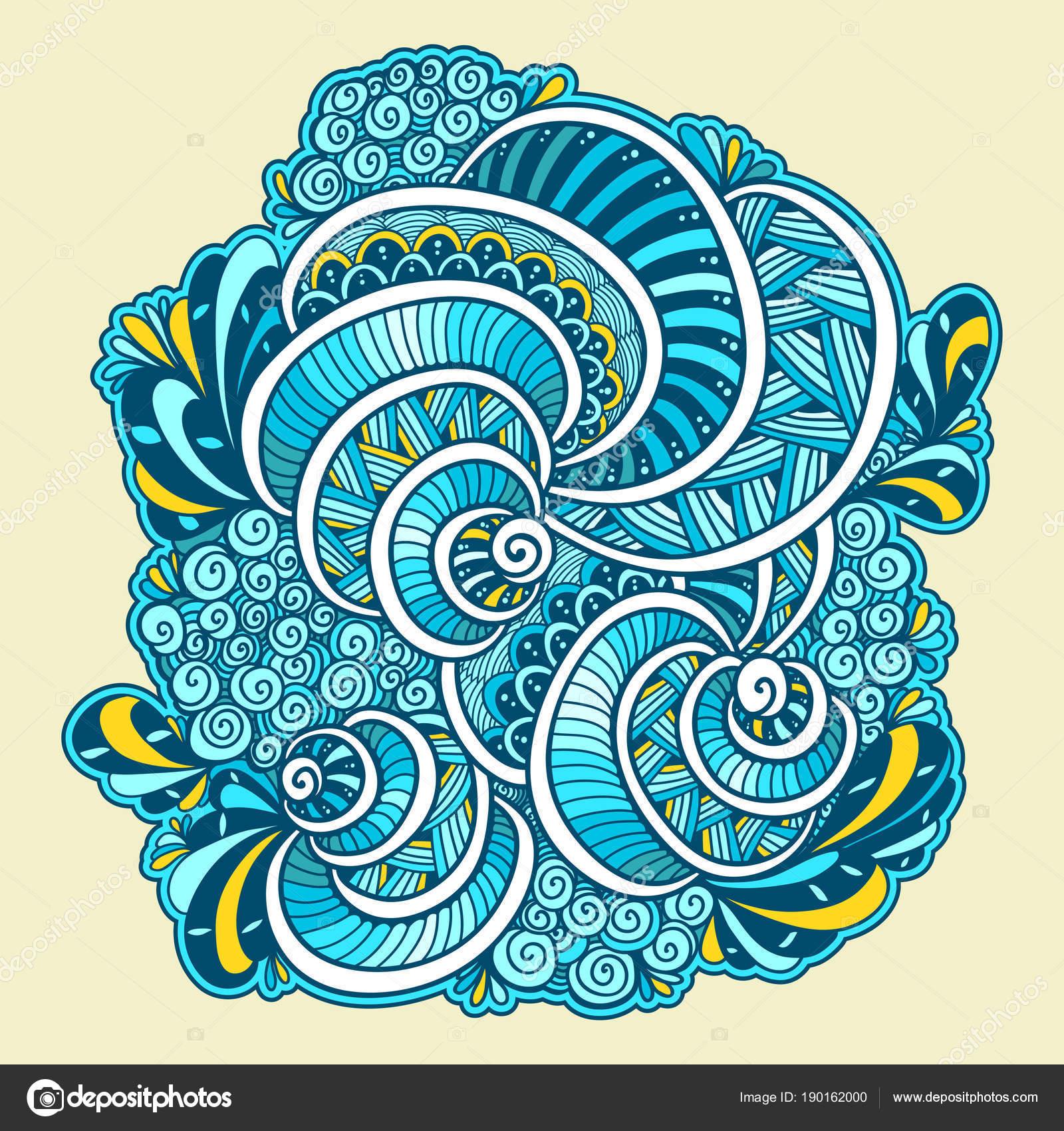 Resumen Maraña Zen Zen Doodle Composición Marina Blanco Naranja Azul ...