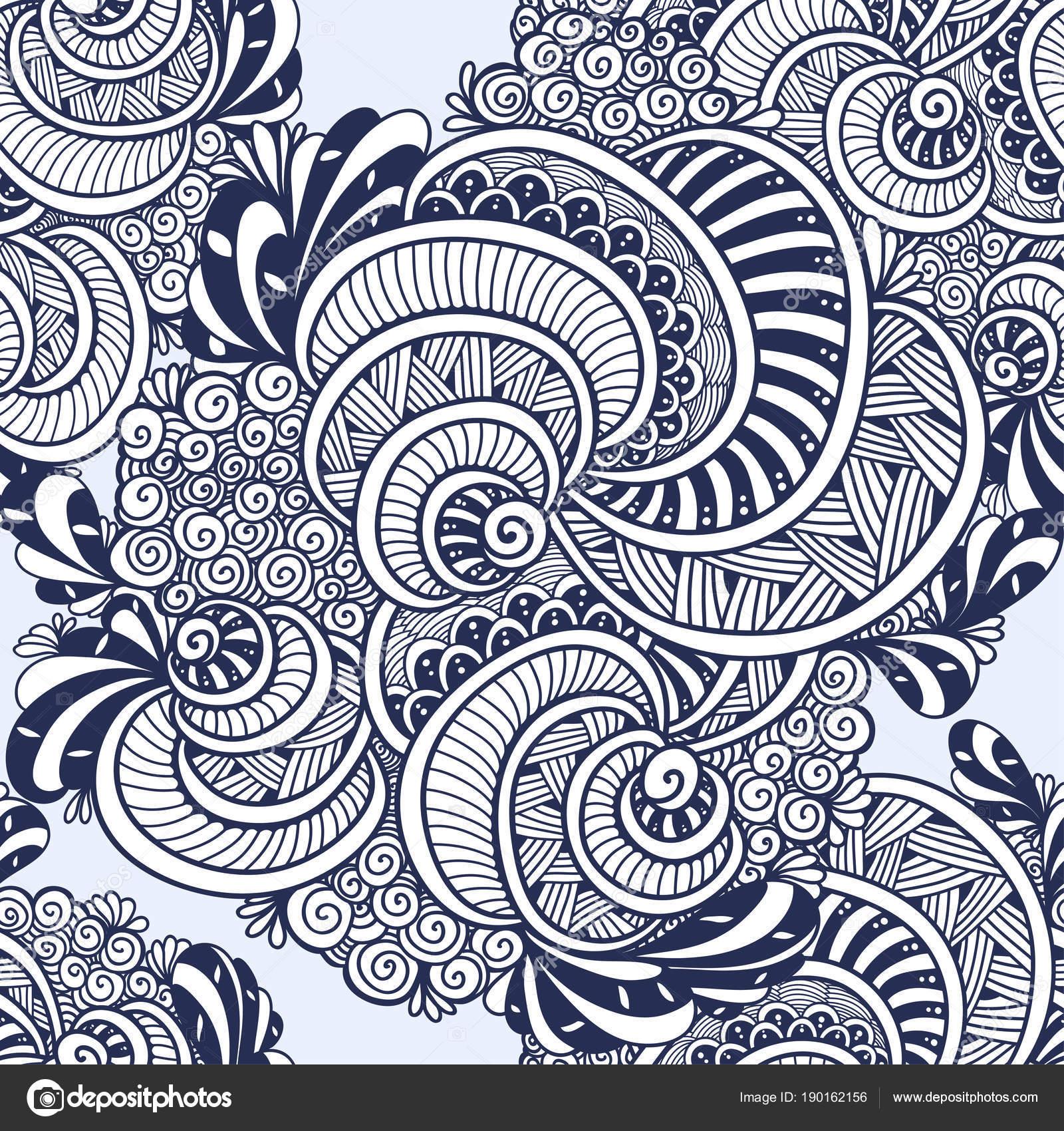 Resumen Maraña Zen Zen Doodle Patrones Sin Fisuras Marinas Conchas ...