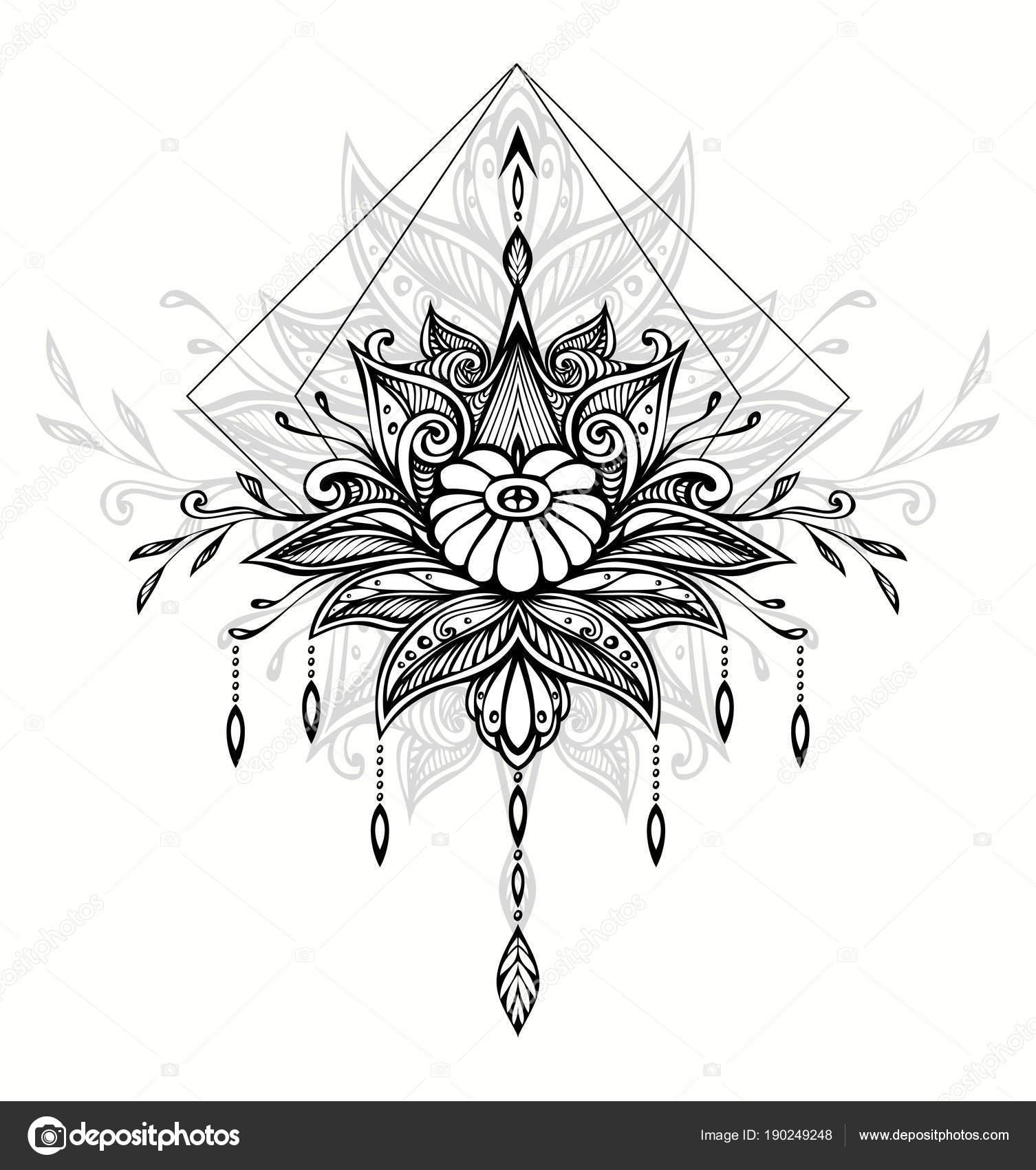 Resumen Maraña Zen Zen Doodle Símbolo Estilo Boho Indio Asiático ...