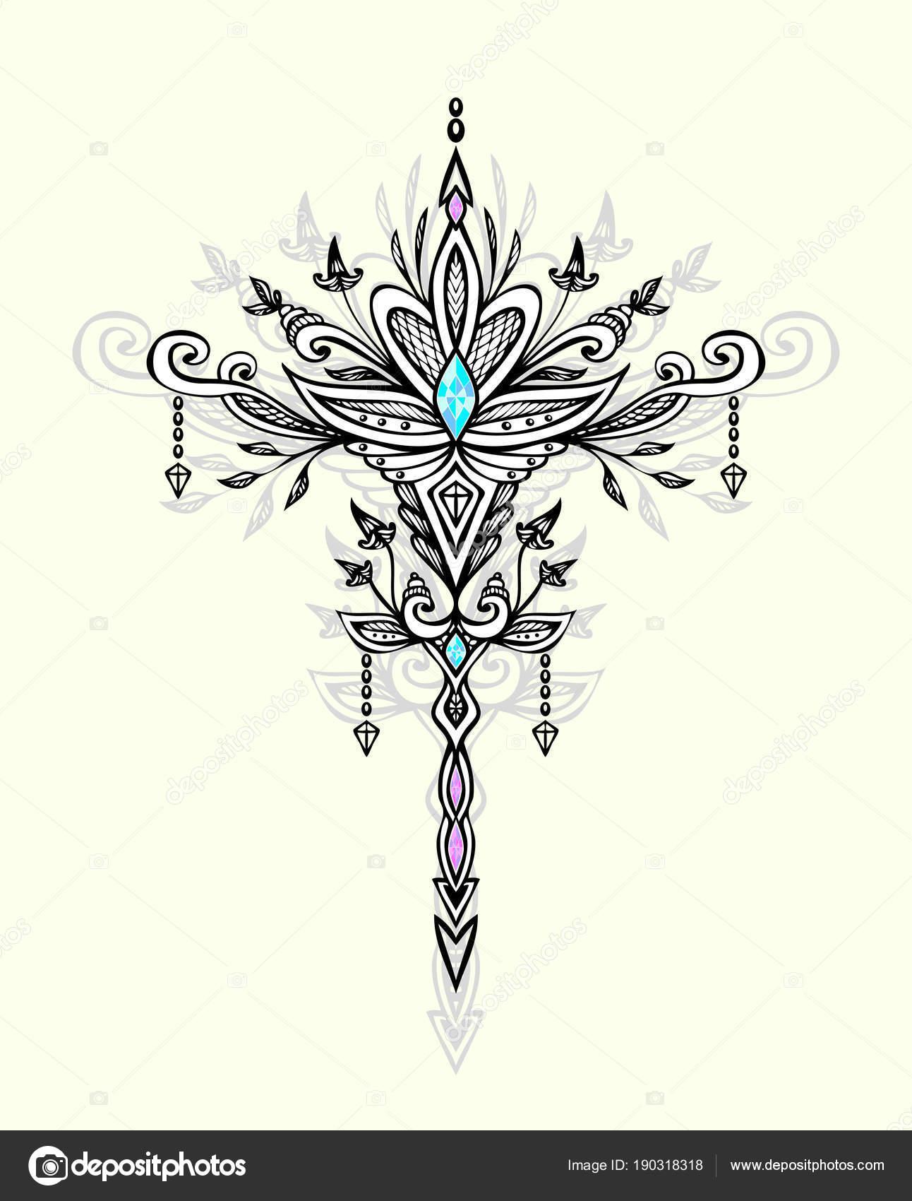 Abstract Zen Wirwar Symbool Boho Indische Aziatische Arabisch