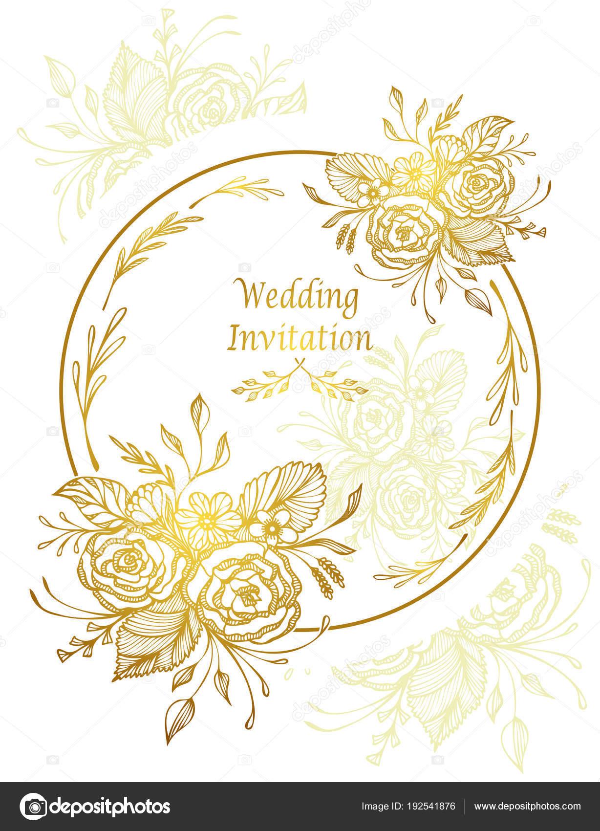 Elegant Wedding Invitation Card Template Hand Drawn Flowers Bouquet
