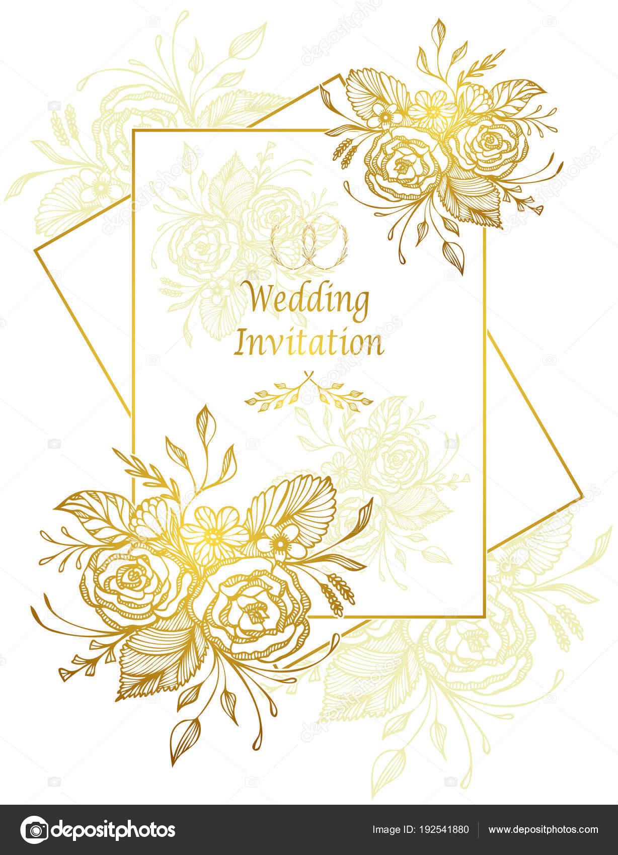 élégante Carte Invitation Mariage Modèle Avec Main Dessinée