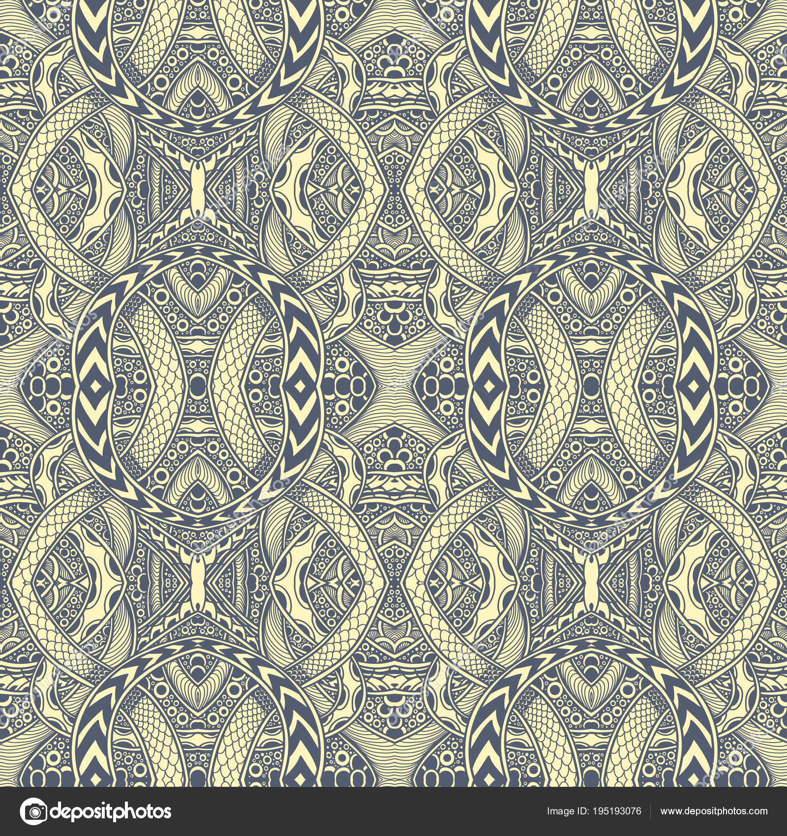 Abstract Zen Tangle Zen Doodle Seamless Pattern Grey Yellow Coloring ...