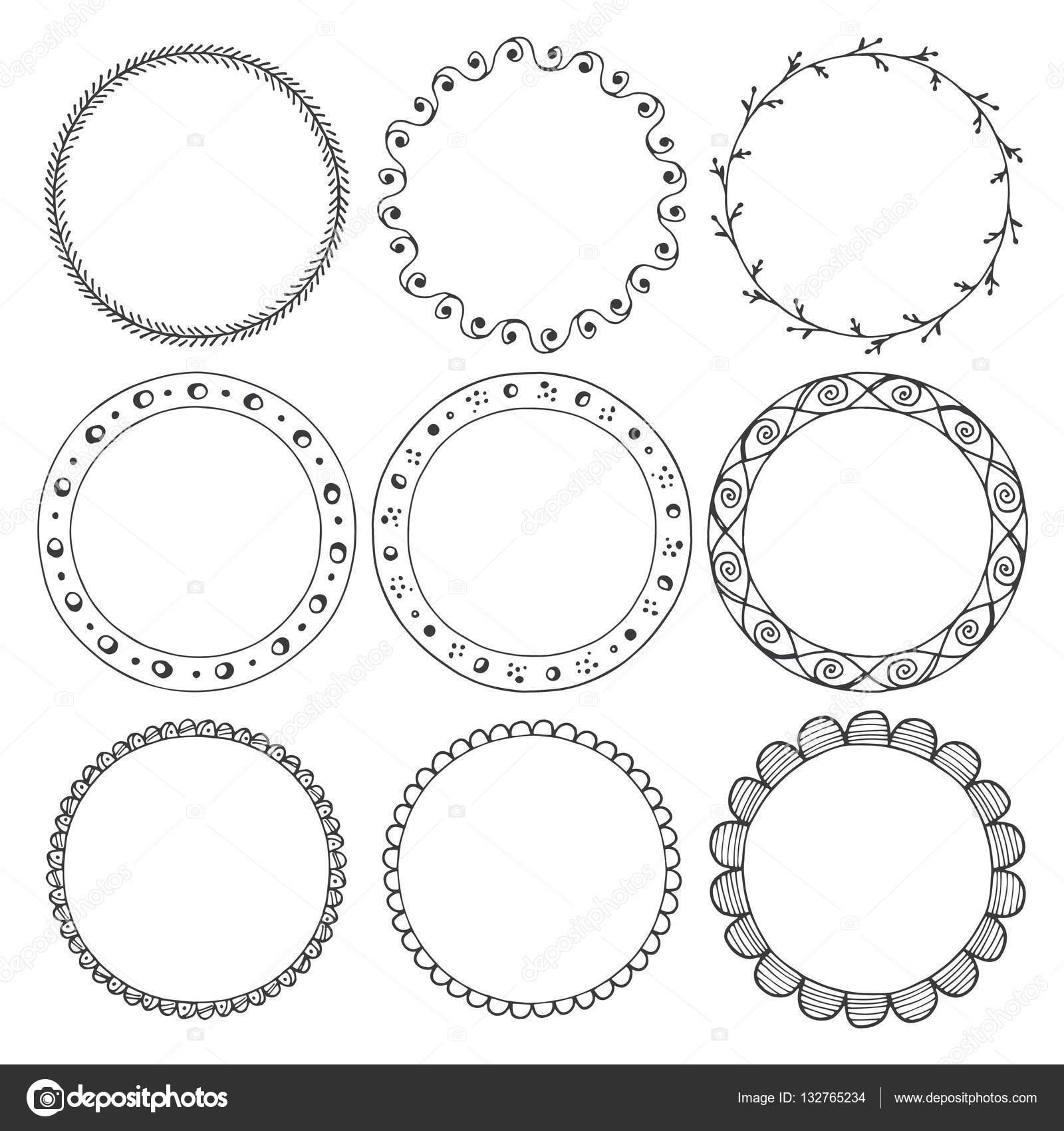 Hand gezeichnete Runde Rahmen, Kreis Ornamente — Stockvektor ...