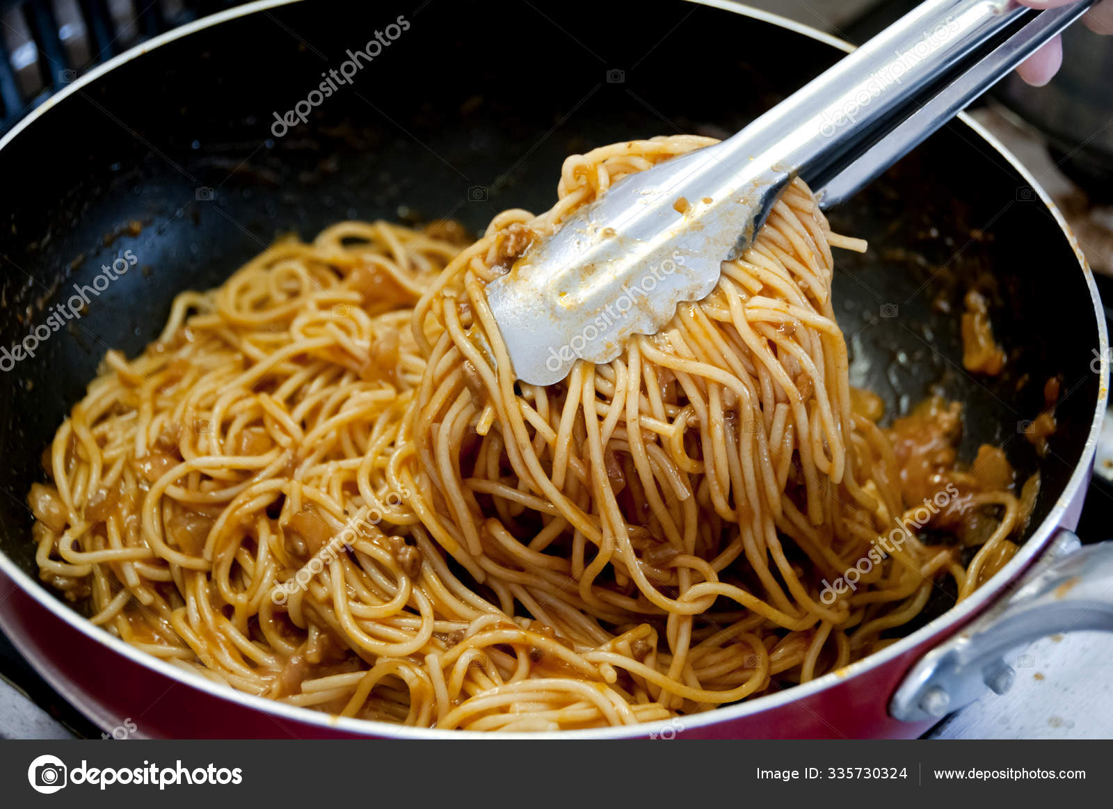 The Best Cooking spaghetti with meat sauce in frying pan on Gas stove 12
