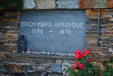 The tomb of writer Erich Maria Remarque at the cemetery of Ronco sopra Ascona, Canton Ticino, Switzerland.