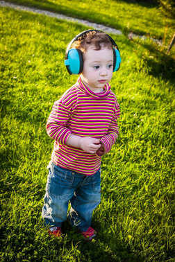 Adorable baby deep in sound