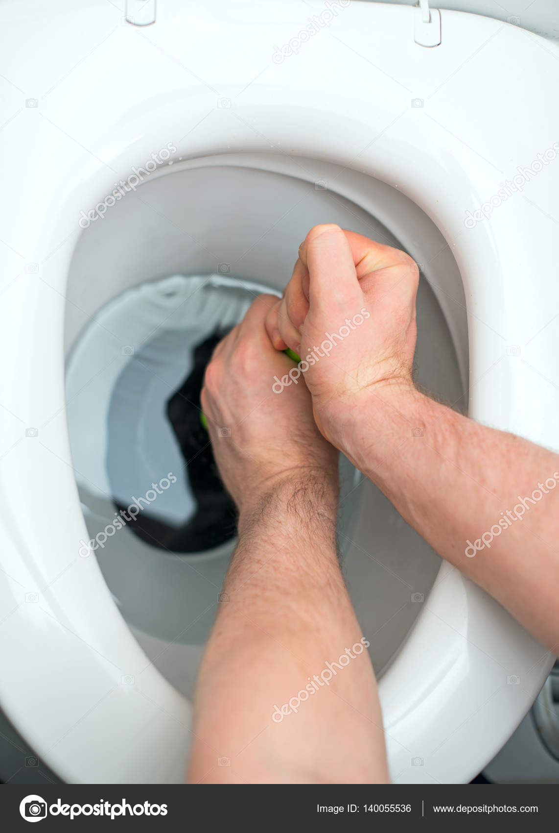 Plumber repairing toilet with hand plunger. — Stock Photo ...