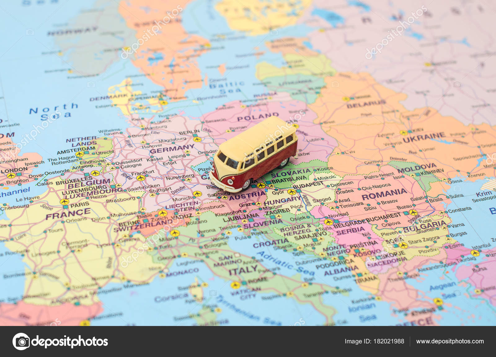 Calais Europe Map.Concept Of Europe Car Trip Car Is On The Map In Czech Republic
