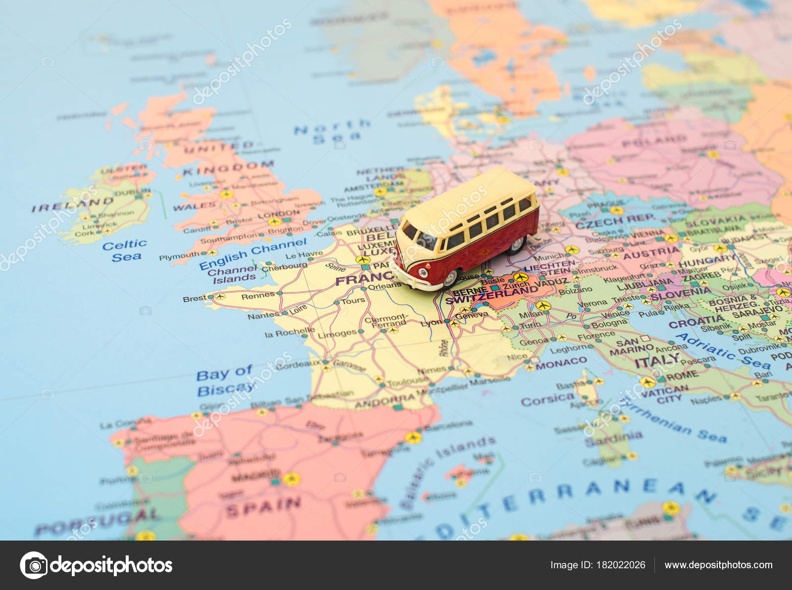 Calais Europe Map.Concept Of Europe Car Trip Car Is On The Map In France Stock