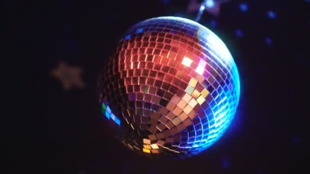 Rotating sparkling disco ball. Concept of night party.